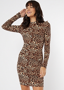 Leopard Print Super Soft Mock Neck Midi Dress
