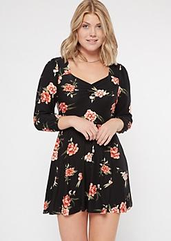 Black Floral Print Super Soft Sweetheart Skater Dress