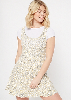 Yellow Floral Print Crochet Trim Skater Dress