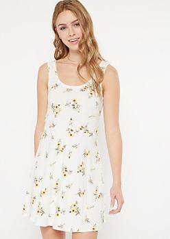 White Floral Print Crochet Trim Skater Dress