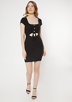 Black Keyhole Tie Front Bodycon Dress
