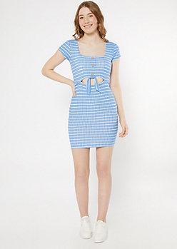Blue Striped Keyhole Tie Front Bodycon Dress