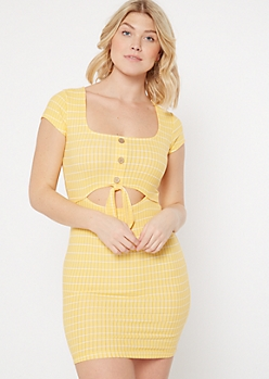 Yellow Striped Keyhole Tie Front Bodycon Dress