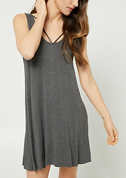 Charcoal Gray Strappy Swing Dress