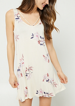 Ivory Floral Print Strappy Swing Dress