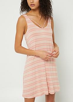 Pink Striped Strappy Swing Dress