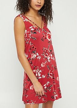 Burgundy Floral Print Strappy Swing Dress