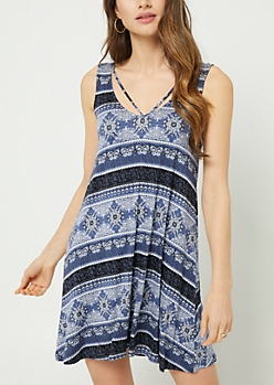 Blue Floral Paisley Print Strappy Swing Dress