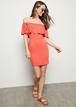 Coral Super Soft Flounce Bodycon Dress