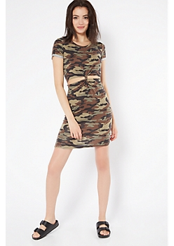 Camo Print Knot Front Cutout T Shirt Dress