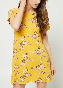 Mustard Floral Print Lattice Sleeve Dress
