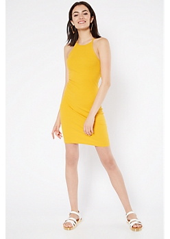Mustard High Neck Ribbed Knit Bodycon Mini Dress