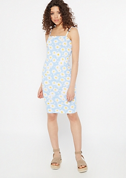 Blue Daisy Print Square Neck Bodycon Dress