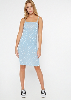 Baby Blue Daisy Print Square Neck Bodycon Dress