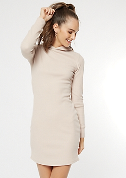 Nude Waffle Knit Hooded Dress