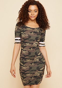 Camo Print Striped Sleeve Bodycon Dress