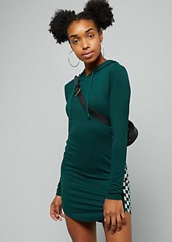 Teal Metallic Checkered Print Striped Hooded Dress