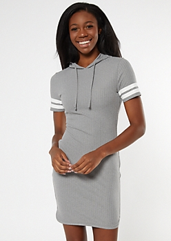 Heather Gray Ribbed Varsity Hoodie Dress