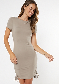 Taupe Ruched Drawstring Bodycon Dress