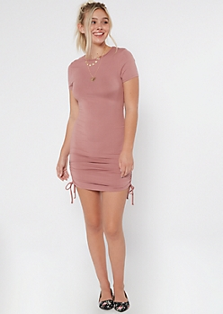 Pink Ruched Drawstring Bodycon Dress