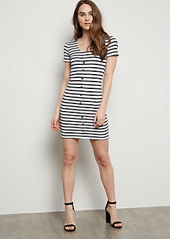 White Striped Button Down Ribbed Knit Dress