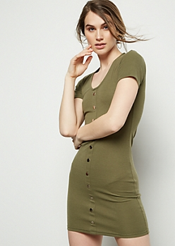 Olive Button Down Ribbed Knit Dress