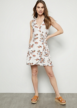 20ddc0976b5 Ivory Floral Print Super Soft Surplice Wrap Dress