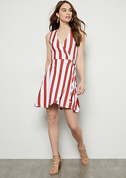 Red Striped Super Soft Surplice Wrap Dress