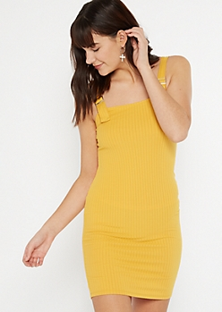 Yellow Super Soft Buckle Strap Dress