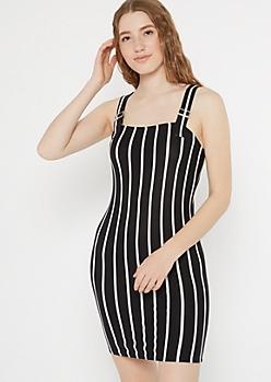 Black Striped Super Soft Buckle Strap Dress