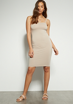 Beige Square Neck Midi Bodycon Dress
