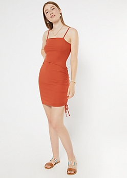 Burnt Orange Ribbed Ruched Drawstring Mini Dress
