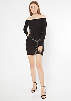 Black Off The Shoulder Ribbed Bodycon Dress