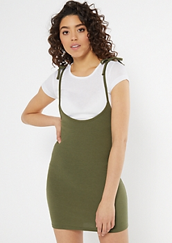 Olive Ribbed Knit Layered Tie Strap Dress