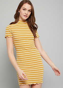 Mustard Striped Ribbed Knit Mock Neck Mini Dress