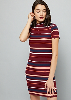 Burgundy Striped Ribbed Knit Mock Neck Mini Dress