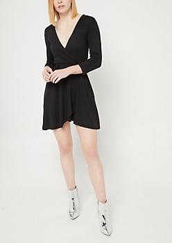 Black Soft Knit Wrap Dress