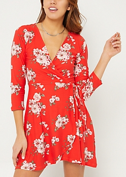 Red Floral Soft Knit Wrap Dress