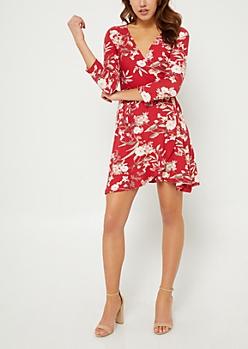 Burgundy Floral Soft Knit Wrap Dress