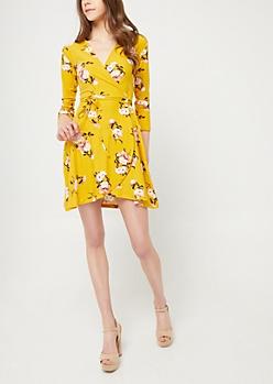 Mustard Floral Soft Knit Wrap Dress