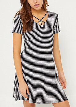 Black Stripe Y Strap Swing Dress