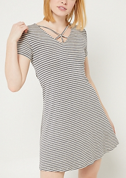 Taupe Stripe Y Strap Swing Dress