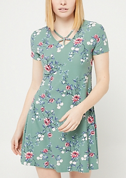 Light Olive Floral Y Strap Swing Dress