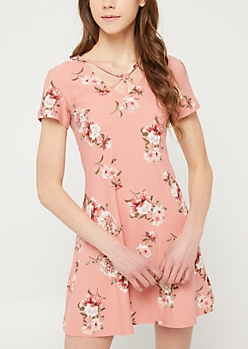 Medium Pink Floral Y Strap Swing Dress