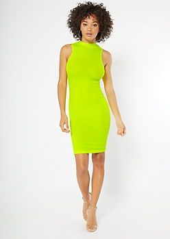 Neon Yellow Ribbed Knit Mock Neck Dress