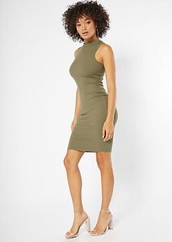 Olive Ribbed Knit Mock Neck Dress