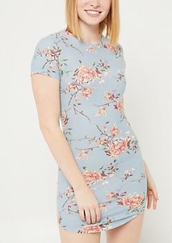 Light Blue Floral Print Short Sleeve T Shirt Dress