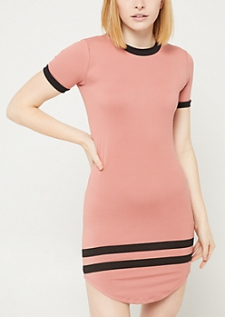Dusty Rose Athletic Striped T Shirt Dress