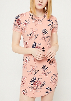Dusty Rose Floral Print Short Sleeve T Shirt Dress
