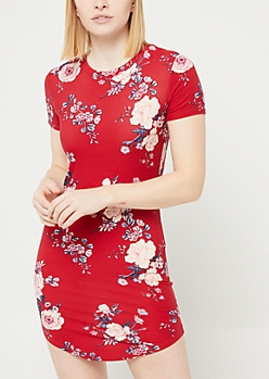 Burgundy Floral Print Short Sleeve T Shirt Dress